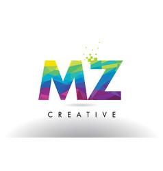 Mz m z colorful letter origami triangles design vector