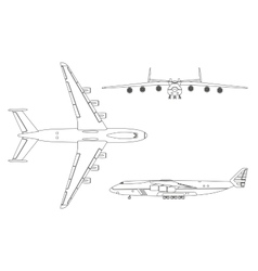 Outline drawing plane in a flat style vector image