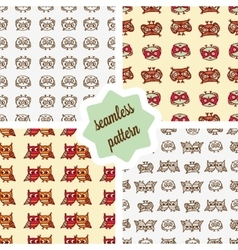 owls seamless patterns set vector image