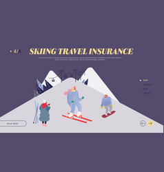 people skiing snowboarding website landing page vector image