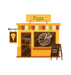 pizza shop building or pizzeria facade flat vector image