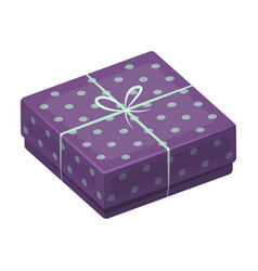 purple gift for polka dots gift wrap on holiday vector image