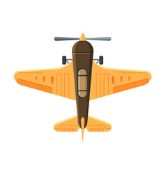 retro flying aircraft biplane view from above vector image