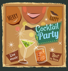 retro poster design for cocktailbar vintage vector image