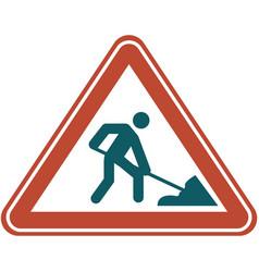 road under construction warning street sign vector image