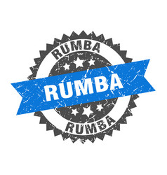 Rumba stamp grunge round sign with ribbon vector