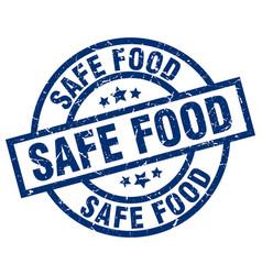 safe food blue round grunge stamp vector image