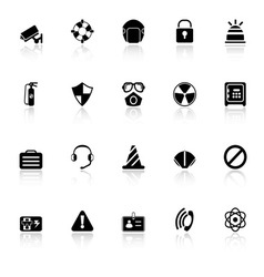 Safety icons with reflect on white background vector image