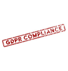 Scratched textured gdpr compliance rectangle stamp vector