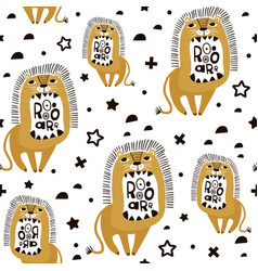 seamless childish pattern with cute cartoon lions vector image