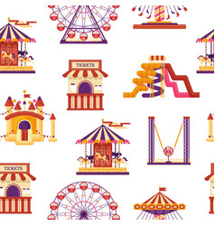 seamless pattern amusement park with carousels vector image