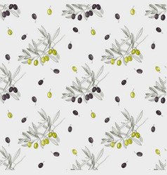 seamless pattern with green and black olives and vector image
