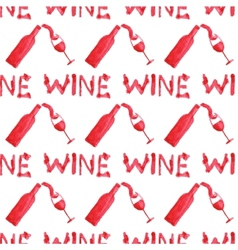 Seamless watercolor pattern with wine stuff on the vector image