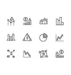 set line icons data analytics strategy business vector image
