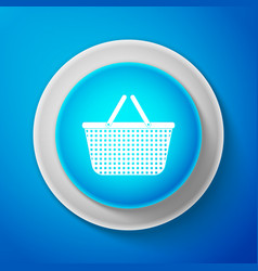 shopping basket icon isolated on blue background vector image