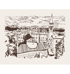 sketch art panorama of Budva Montenegro travel vector image