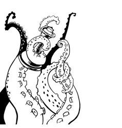 sketch cartoon octopus tentacles sketch vector image