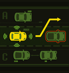 Smart car on the road with traffic vector