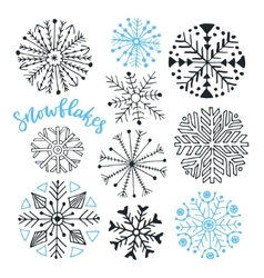 Snowflakes hand drawn collection Winter vector