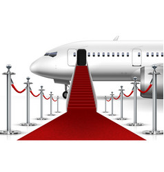 Solemn boarding white airplane with red carpet vector