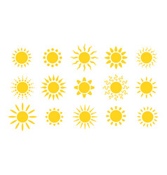 summer flat sun logo yellow suns circles bright vector image