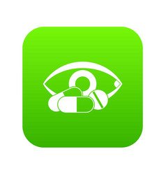 treatment of the eye icon digital green vector image