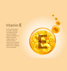 Vitamin e baner with images golden balls with vector