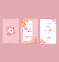 Wedding invitation card set with peony flowers and vector
