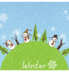 Winter square background vector image