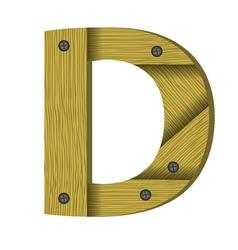 Wood letter D vector