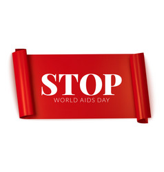 World aids day red ribbon banner vector