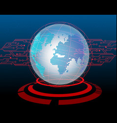 world map cyber attack by hacker circuit concept vector image