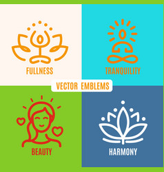 Yoga icons line badges vector