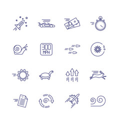 Motion and speed linear icons slow and fast vector