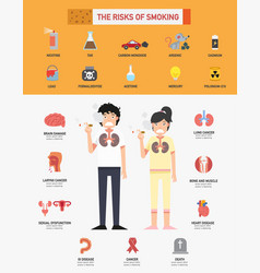 risk of smoking infographics vector image vector image