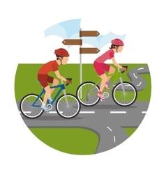 Road cyclists scenery icon vector image vector image
