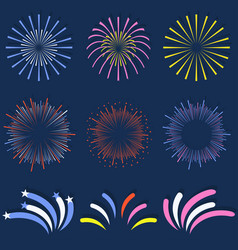 set of isolated fireworks brightly colorful and vector image vector image