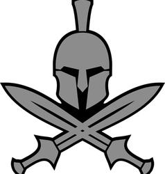 ancient hellenic helmet and swords vector image vector image
