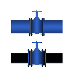 gate valve in connection with pipes vector image