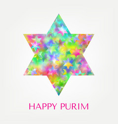 happy purim card with stars vector image