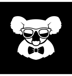 Hipster Cute Koala in Glasses and Bow Tie Simple vector image vector image