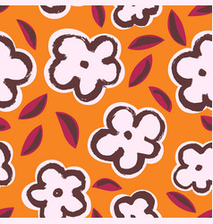 ink seamless pattern with leaves and flowers vector image vector image