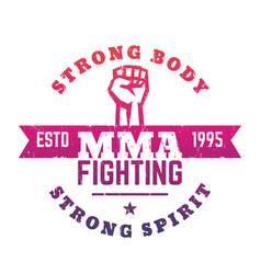 mma fighting logo emblem t-shirt print vector image