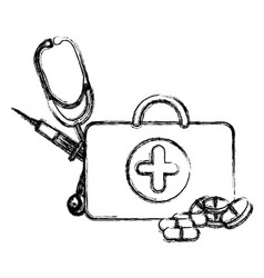 profile suitcase health with stethoscope syringe vector image vector image