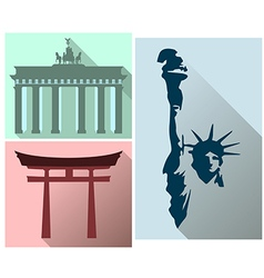 Set sights and symbols of different countries vector image vector image