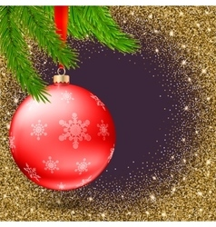 Christmas ball with snowflakes and branches of fir vector image