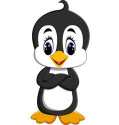 cute penguin cartoon waving vector image