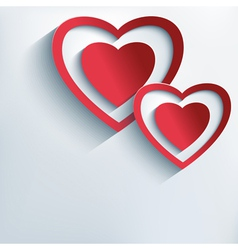 Love background with red paper 3d hearts vector image vector image