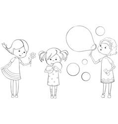outline girls vector image