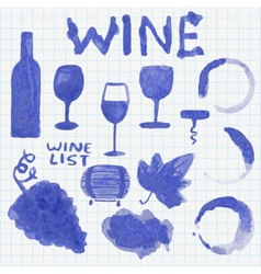 Set of watercolor wine stuff Decoration and vector image vector image
